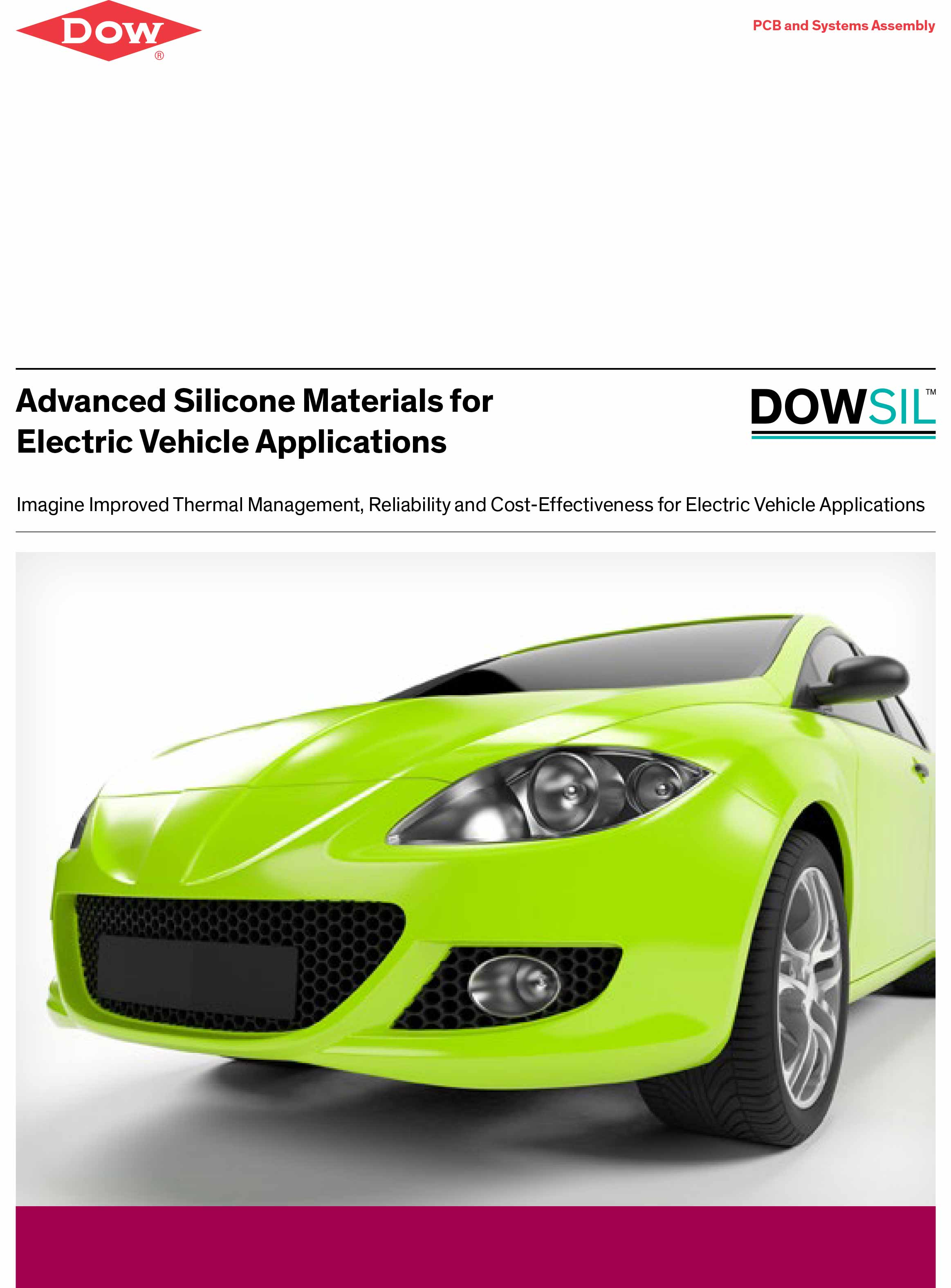 English broschure title of Advanced Silicone Materials for Electric Vehicle Applications – PCB and Systems Assembly